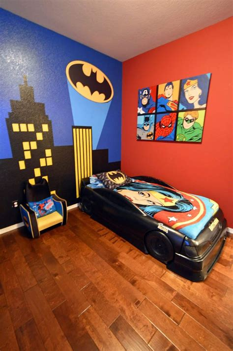 Boy s Batman Superhero themed room with Bat Signal over ...