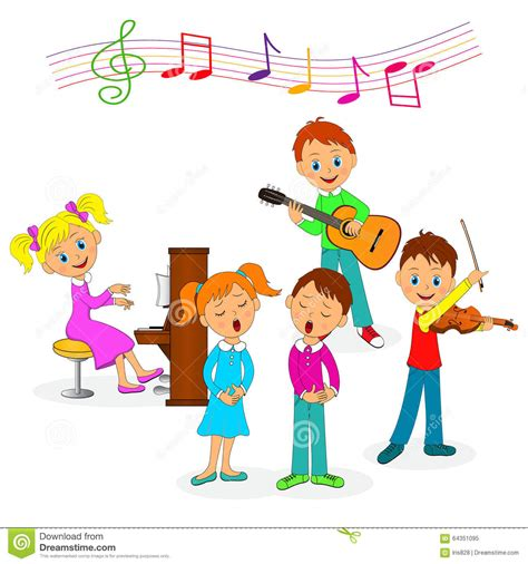 Boys And Girls Play Music And Sing Stock Vector ...