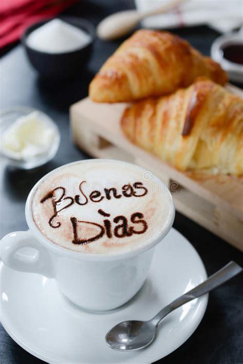 Breakfast Cappuccino Design   Buenos Dias Stock Image ...