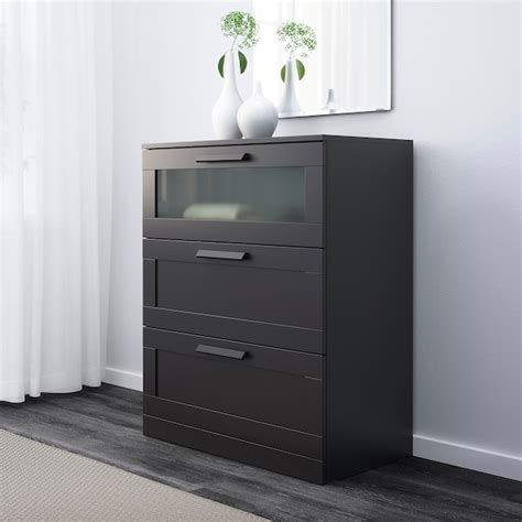 BRIMNES Chest of 3 drawers, black/frosted glass, black ...