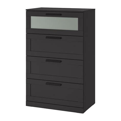 BRIMNES Chest of 4 drawers   black/frosted glass   IKEA