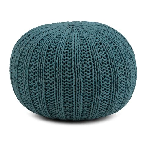 Brooklyn + Max Milford Transitional Round Hand Knit Pouf ...