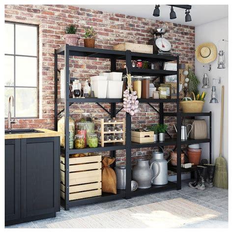 BROR 3 sections/shelves   black   IKEA