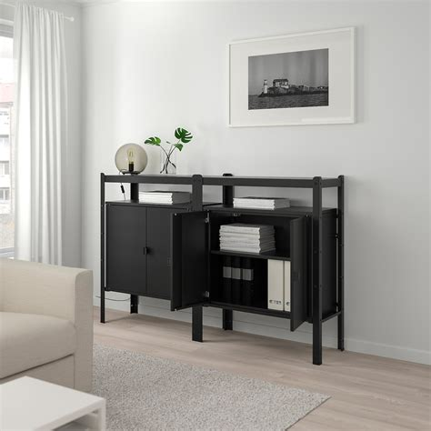BROR Shelving unit with cabinets, black   IKEA
