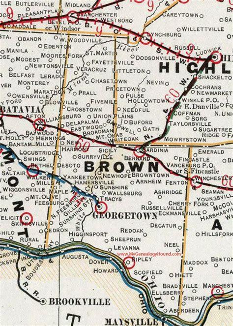 Brown County, Ohio, 1901, Map, Georgetown, Higginsport ...