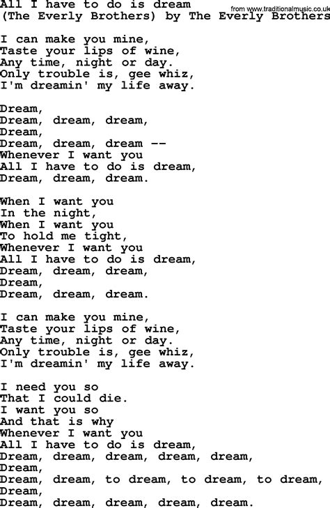 Bruce Springsteen song: All I Have To Do Is Dream, lyrics