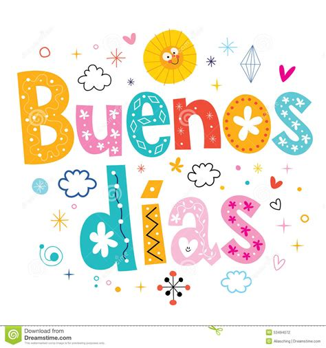Buenos Dias Good Day Good Morning In Spanish Stock Vector ...