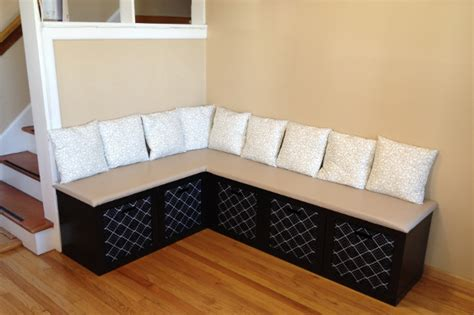 Build a corner bench with Ikea shelves...attach to corner ...