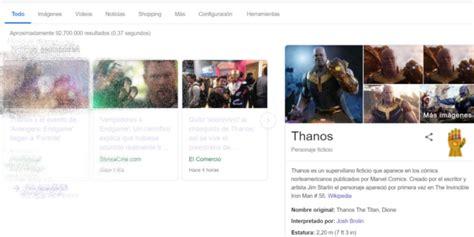 Busca  Thanos  en Google, da click en el guantelete del ...