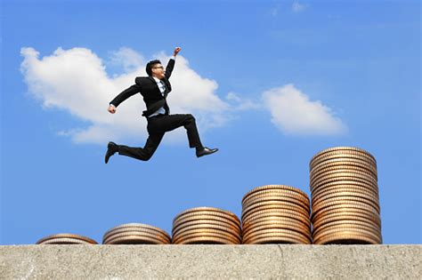 Business Man Run On Money Stock Photo   Download Image Now ...
