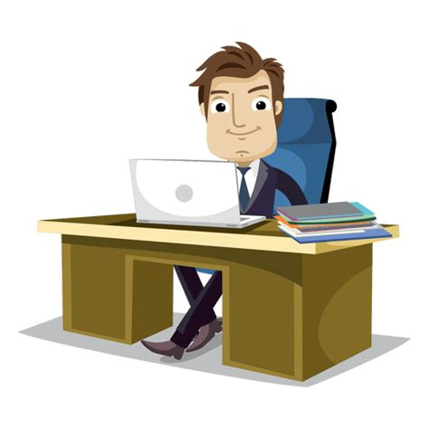 Businessman working at office cartoon   Transparent PNG ...