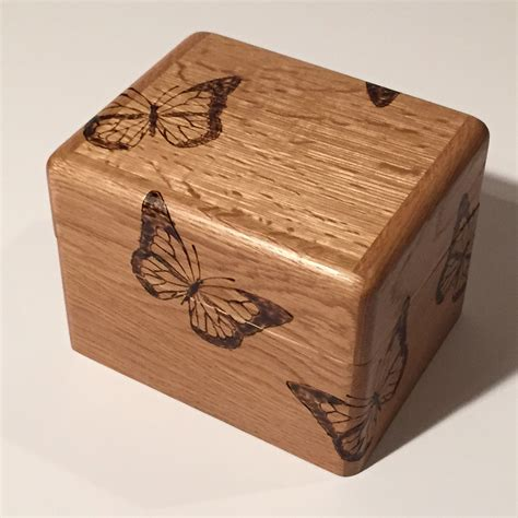Buy a Custom Oak Butterfly Recipe Box, made to order from ...