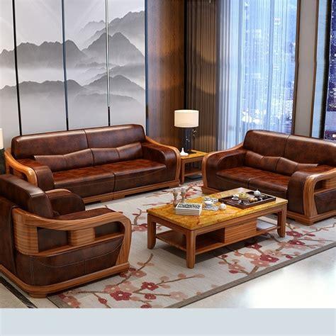 Buy Modern Style Teak Wood Leather Sofa Online | TeakLab