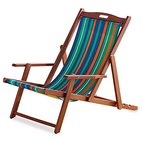 Buy Resort Striped Folding Wood Beach Chair from Bed Bath ...
