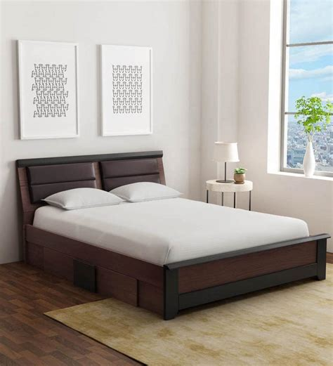 Buy Ryouta Queen Size Bed with Drawer Storage in Wenge ...