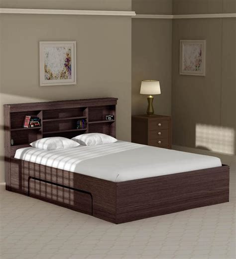 Buy Toya Queen Size Bed with Drawer Storage in Walnut ...
