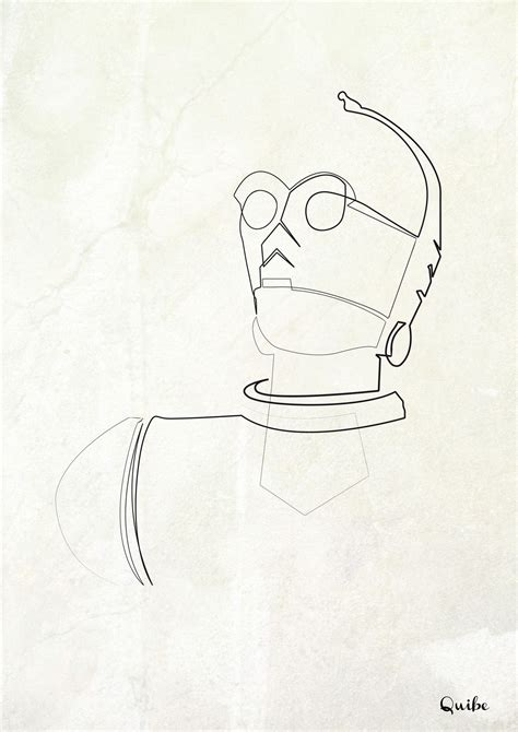 C3PO One line Illustration by Quibe in 2019   Line ...