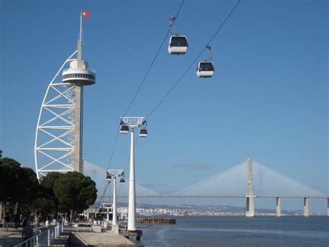 Cable cars near the Vasco de Gama Tower in Lisbon ...