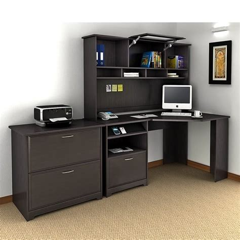Cabot Corner Desk with Hutch and Lateral File Cabinet in ...