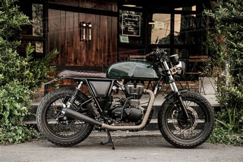 Cafe racer motorbike parked outside custom motorbike and ...