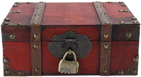Caja de almacenamiento de madera vintage, cofre decorativo ...