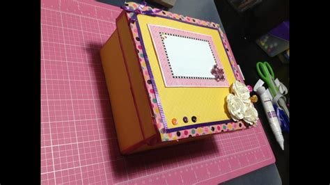 Caja de carton decorada// Scrapbook   YouTube