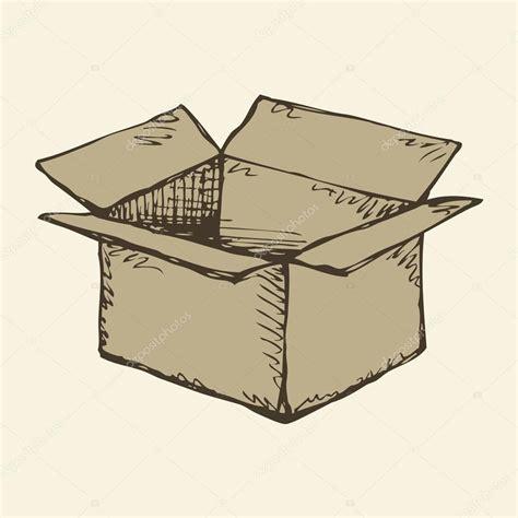 Caja de cartón. Dibujo vectorial — Vector de stock ...