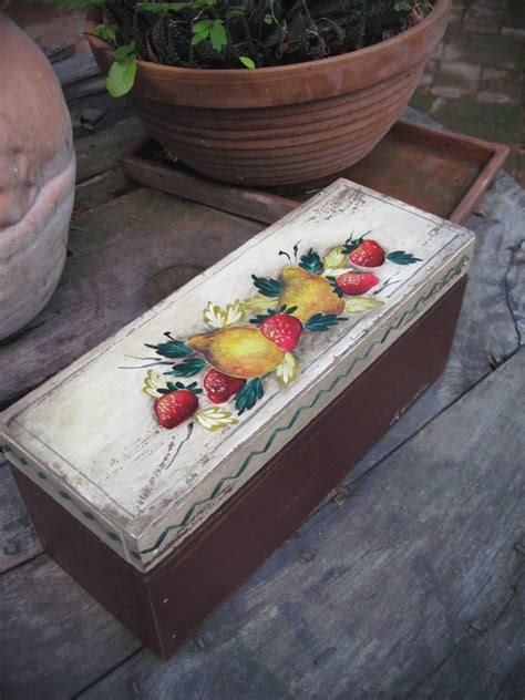 Caja De Madera , Caja De Te, Pintada A Mano, Vintage ...