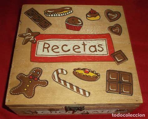 caja de madera con dibujos para guardar recetas   Comprar ...
