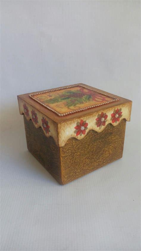 Caja de Madera. Craquelado Navideño...   Decorative boxes ...