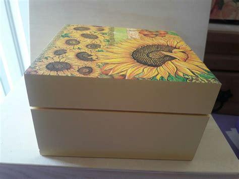 Caja de madera girasol decoupage | Cajas de regalo ...