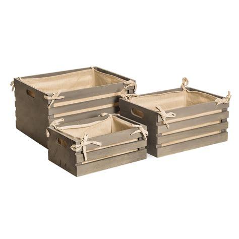 Caja de madera gris, 42*32*23cm   orden en casa