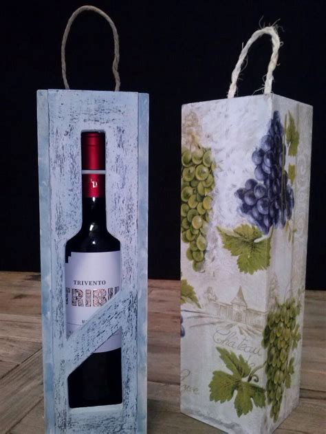 Caja de madera, porta botella estilo vintage   Cajas de ...