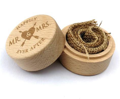 Caja de madera rústica personalizada para anillos de boda ...