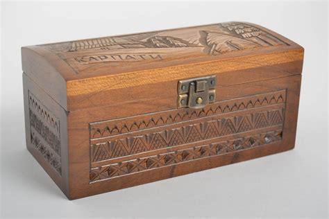 Caja decorativa artesanal cofre de madera tallado regalo ...
