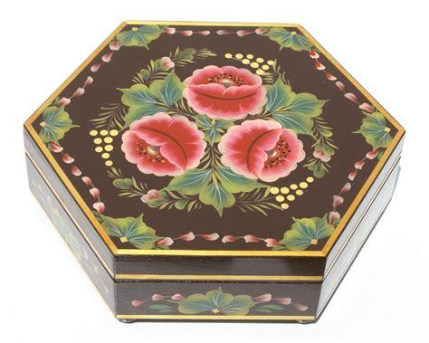 Caja decorativa de madera con imagenes de flores, tamano ...