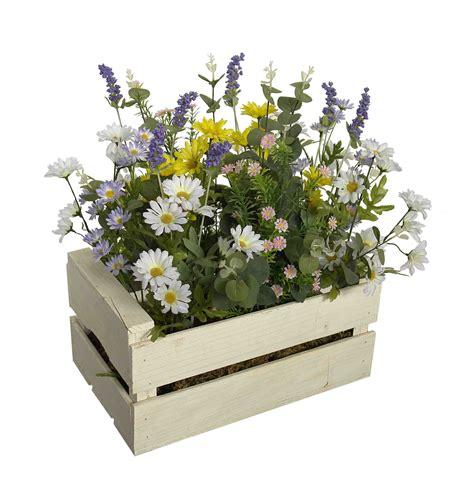 Caja madera blanca con flor surtida   40x25x50cm