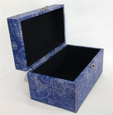 Caja Madera Decorativa Baul Recuerdos Viajes Mapamundi ...