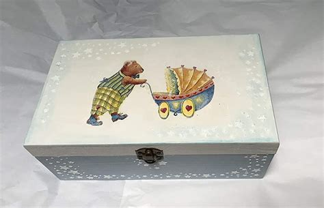 caja madera para bebe decorada a mano, para regalar o ...
