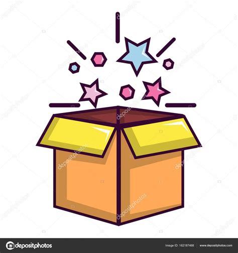 Caja mágica con icono de estrellas, estilo de dibujos ...