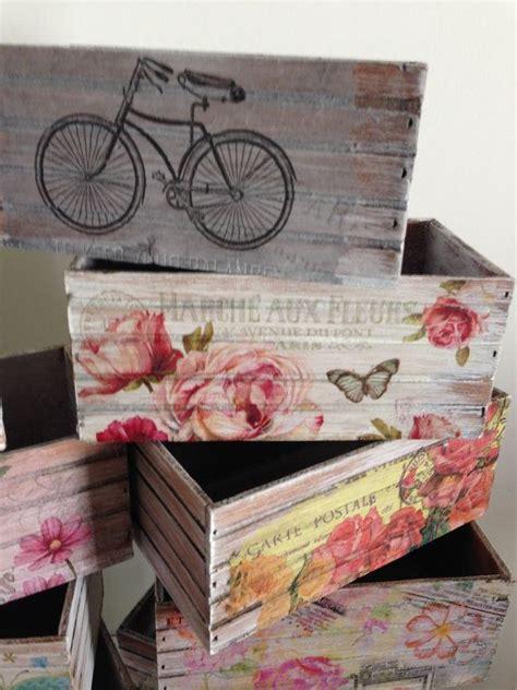 Caja multiusos de madera estilo vintage, pintada y ...