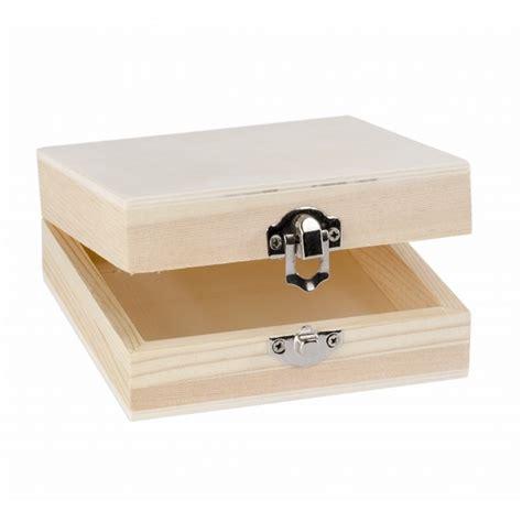 Caja pequeña de madera alta con tapa y cierre 12x12x4 cm ...