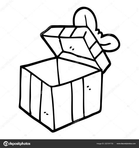 Caja Regalo Abierta Dibujos Animados Blanco Negro — Vector ...