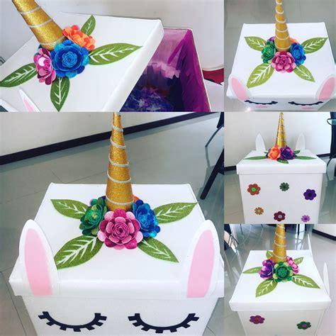 Caja sorpresa decorada de unicornio # ...