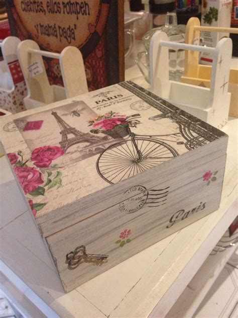 Caja té vintage | Decoupage | Pinterest | Caja de madera ...