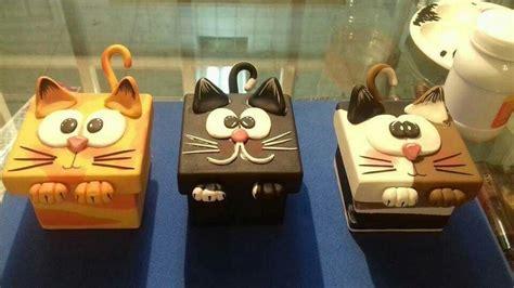 Cajas con tapas decoradas en porcelana fría: gatos ...