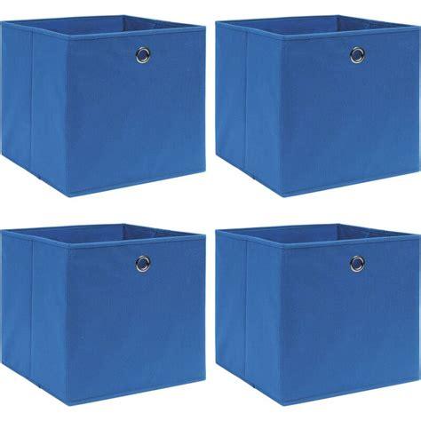 Cajas de almacenaje 4 uds tela 32x32x32 cm azul