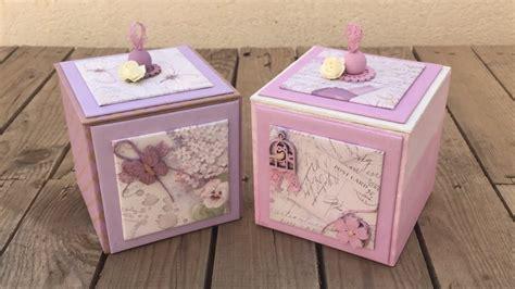 Cajas de cartón decoradas con pintura y papel de ...
