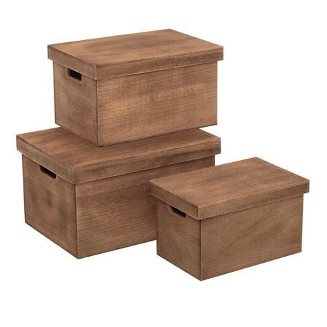 Cajas multiusos rústicas marrón de madera para dormitorio ...