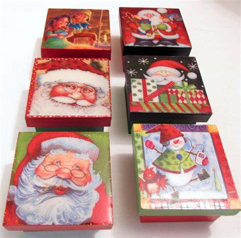 Cajitas decorativas de Navidad en MDF con cubierta de ...